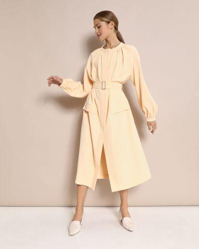 Желтое с рукавами пышное платье миди 12storeez