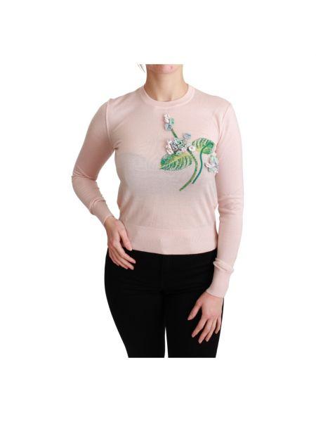 Różowy pulower z jedwabiu z długimi rękawami Dolce And Gabbana
