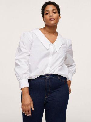 Белая блузка осенняя Violeta By Mango