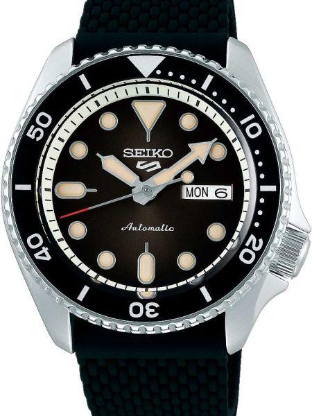 Со стрелками спортивные черные силиконовые часы механические Seiko