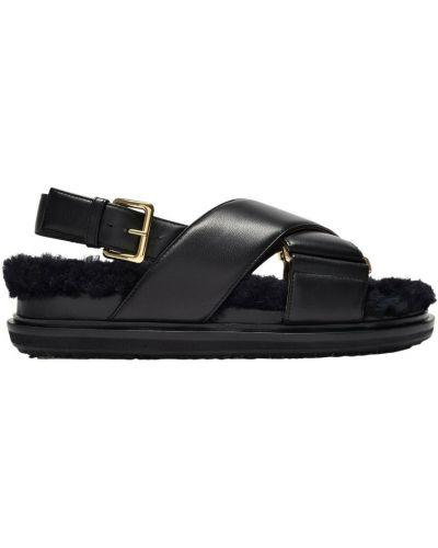 Czarne sandały skórzane Marni