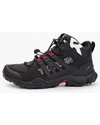 Кожаные черные высокие кроссовки X-plode