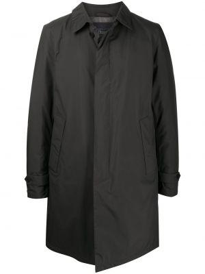 Klasyczny jednorzędowy długi płaszcz z kołnierzem z kieszeniami Herno