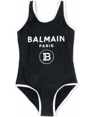Czarny garnitur bez rękawów z printem Balmain Kids