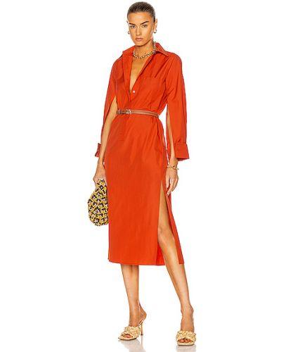 Хлопковое оранжевое платье с карманами Max Mara