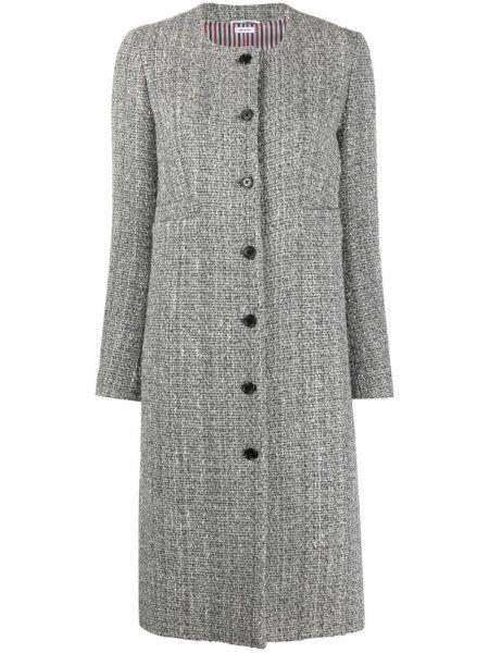 Серое длинное пальто Thom Browne