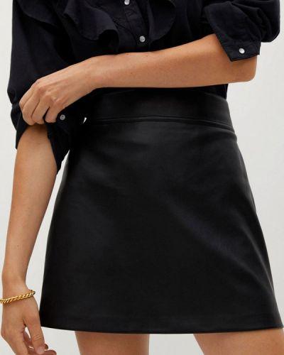 Черная кожаная юбка Mango