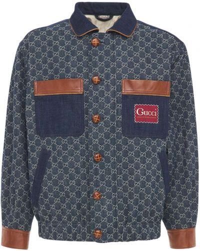 Skórzany niebieski jeansy na gumce Gucci
