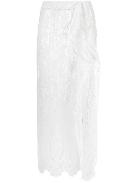 Белая юбка миди с разрезом с поясом с завязками The Attico