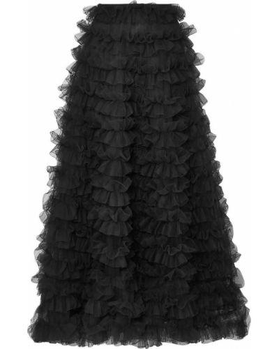 Черная юбка макси из фатина на крючках Valentino