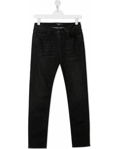 Зауженные черные прямые джинсы с заплатками с карманами Neil Barrett Kids