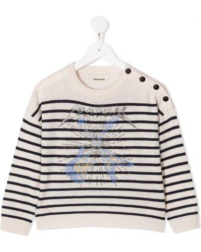 Кашемировый свитер с нашивками с круглым вырезом круглый Zadig & Voltaire Kids
