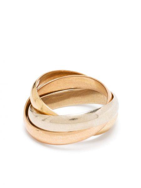 Золотистое тонкое кольцо золотое Cartier