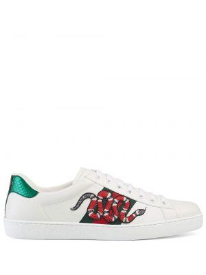Skórzany biały skórzane sneakersy na sznurowadłach okrągły Gucci