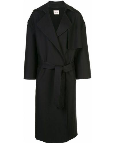 Черное длинное пальто с капюшоном Khaite
