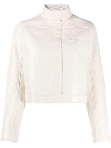 Хлопковая белая длинная куртка с воротником с длинными рукавами Courrèges