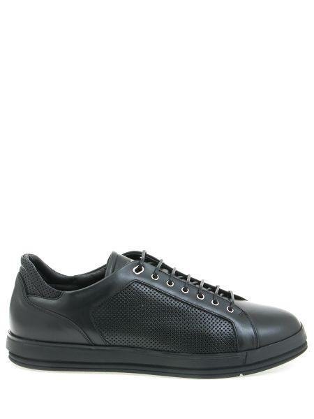 Комбинированные кожаные черные кеды на шнуровке Franceschetti