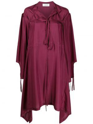 Шелковое красное платье макси с воротником Lanvin