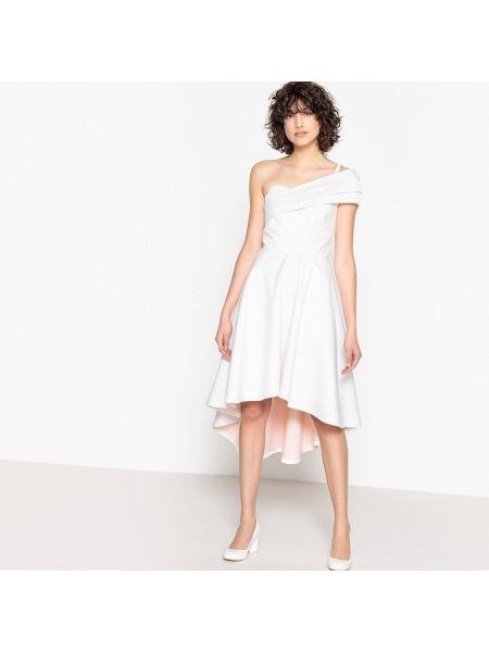 Бежевое расклешенное платье миди с бантом без рукавов La Redoute Collections