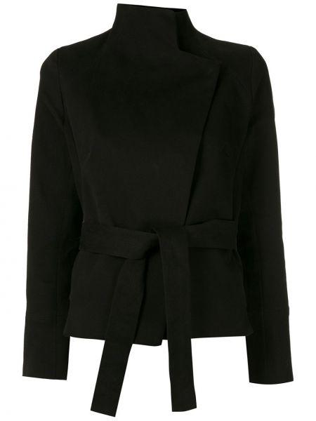 Черный удлиненный пиджак с поясом с воротником Egrey