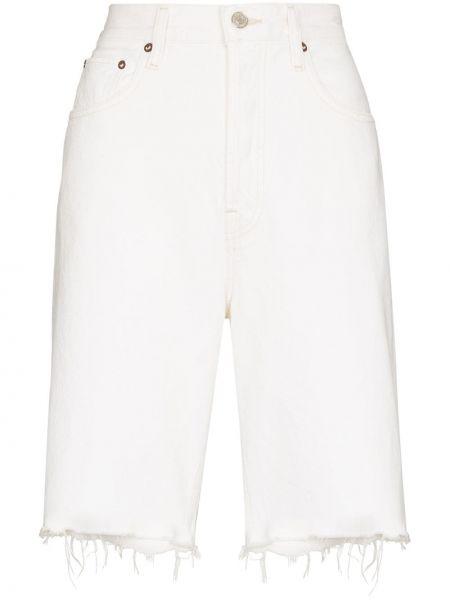 Джинсовые шорты до колена - белые Agolde