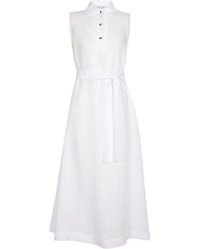 Льняное платье миди - белое Loro Piana