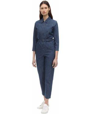 С рукавами хлопковый синий джинсовый комбинезон с карманами A.p.c.