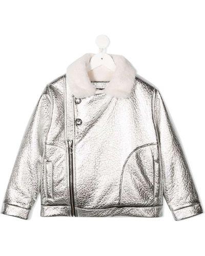 Серебряная длинная куртка байкерская с длинными рукавами Andorine