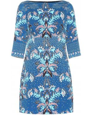 Платье мини с цветочным принтом синее Peter Pilotto