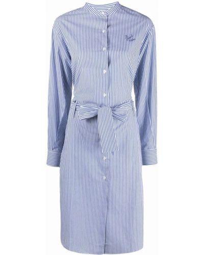 Белое платье макси в полоску с воротником-стойка Maison Labiche