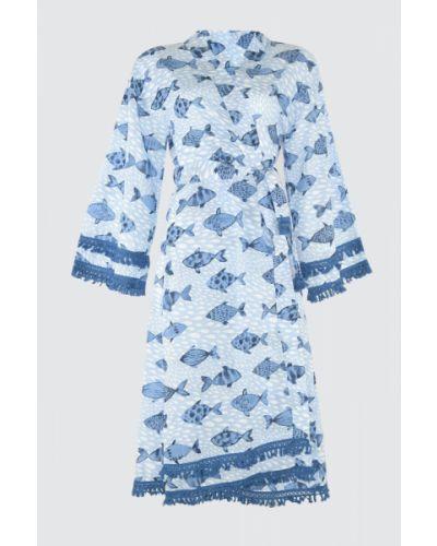 Niebieski kaftan bawełniany Trendyol
