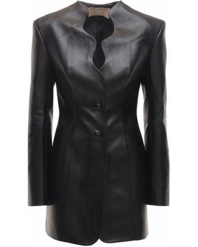Черный кожаный пиджак с подкладкой Matériel