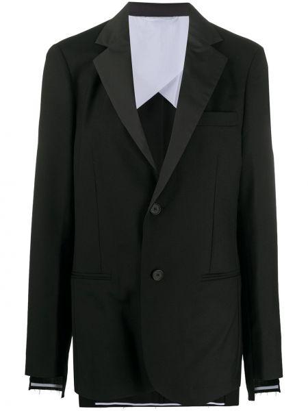 Прямой шерстяной черный удлиненный пиджак Maison Flaneur