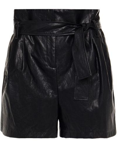 Черные кожаные шорты с карманами Ba&sh