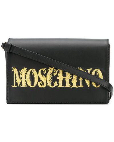Czarna złota kopertówka z haftem Moschino