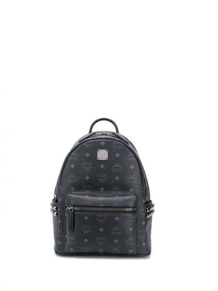 Czarny plecak skórzany z printem Mcm