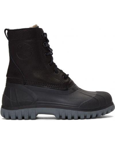 Ажурные черные сапоги на шпильке на шнуровке круглые Diemme