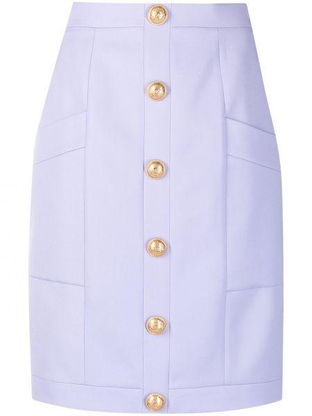 Złota fioletowa spódnica ołówkowa z wysokim stanem Balmain