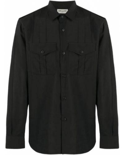 Klasyczna koszula z długimi rękawami wełniana Saint Laurent