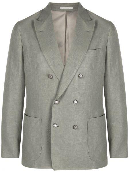 Шерстяной удлиненный пиджак двубортный с заплатками Brunello Cucinelli