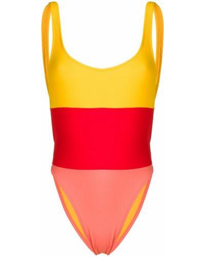 Открытый плюшевый желтый слитный купальник Sian Swimwear