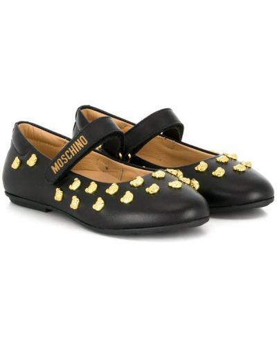 Балетки черные на каблуке Moschino Kids