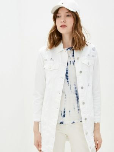 Джинсовая куртка весенняя белая Miss Bon Bon