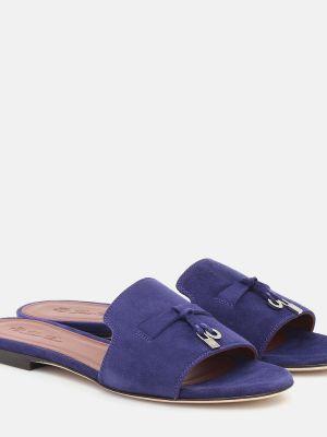 Теплые малиновые кожаные сандалии Loro Piana