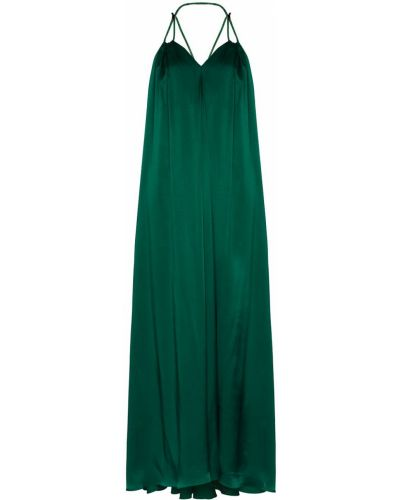 Zielona sukienka długa z jedwabiu bez rękawów Halpern