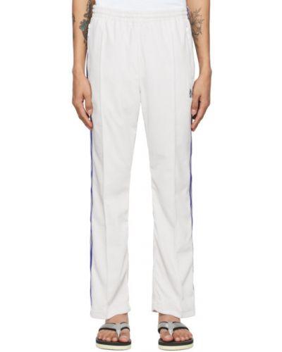Белые брюки в полоску с карманами Needles