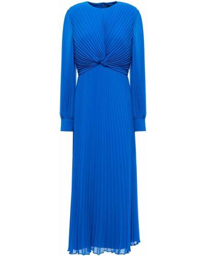 Плиссированное шифоновое синее платье миди Badgley Mischka