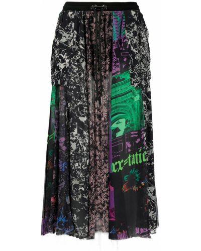 Черная с завышенной талией юбка миди с разрезом Diesel