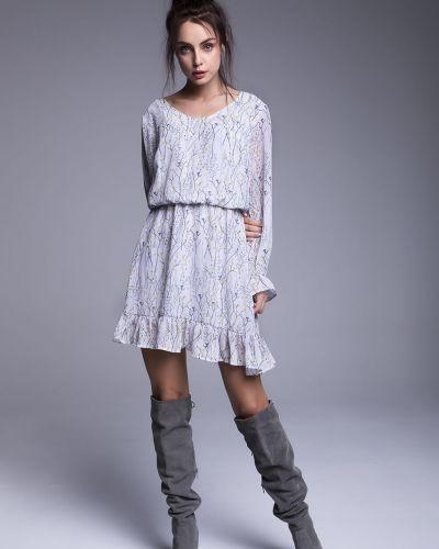 Платье мини с вырезом - серое Naoko