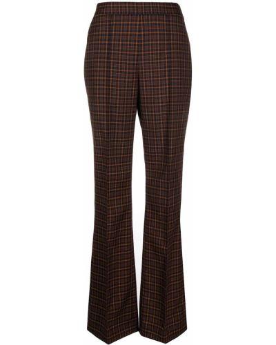 Коричневые шерстяные прямые со стрелками брюки Temperley London